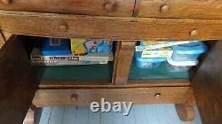Antique Tiger Oak Sideboard / Rustic Farmhouse Oak Sideboard / Beveled Glass
