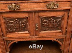 Antique Tiger Oak Sideboard Server Cabinet Unique carving and hardware