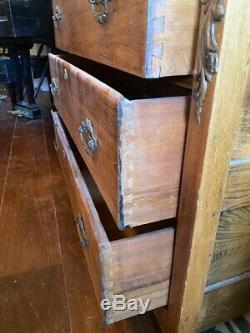 Antique Tiger Oak Swing Mirror Dresser Chest