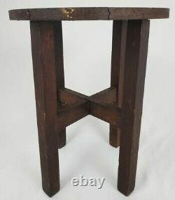 Antique Tiger Oak Taboret Table Arts And Crafts Mission Round Stickley Style