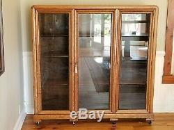 Antique Tiger Oak Triple Bookcase 1907