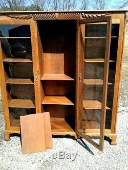 Antique Tiger Oak Triple Door Bookcase 1900s Era