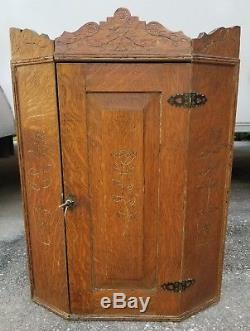 Antique Tiger Oak Victorian Hanging Corner Cabinet Medicine Carved Wood Ornate