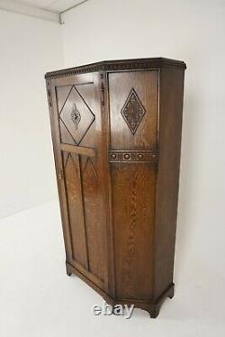 Antique Tiger Oak Wardrobe, Carved Hall Armoire, Closet, Scotland 1910, B2127