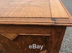 Antique Tiger Quartersawn Oak Blanket Chest Trunk Bench Seat Storage Deco Wood