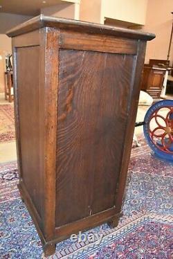 Antique Tiger Stripe Oak Music Cabinet