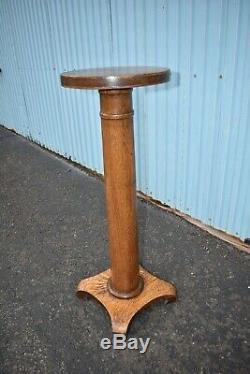 Antique Tiger Stripe Oak Pedestal Plant Stand