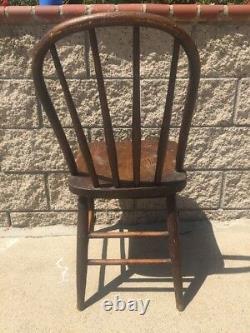 Antique Tiger Striped Oak Wood Brown Dining Chair Barn Primitive Decor