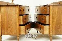 Antique Vanity, Antique Dresser, Beveled Mirror, Tiger Oak, Scotland 1930, B847