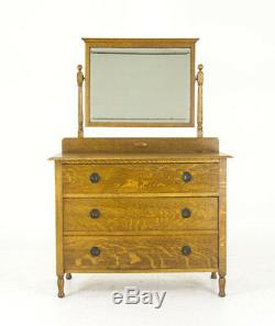 Antique Vanity, Tiger Oak, Mirrored, Scotland 1930, Antique Furniture, B847 REDUCED