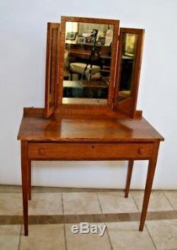 Antique Vanity Tri mirror Mission arts and crafts tiger oak desk locking drawer