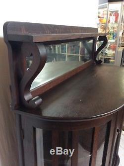 Antique Victorian 1880's Empire Tiger Oak Lion Paw Foot Buffet Sideboard Server