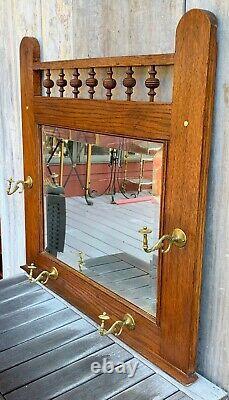Antique Victorian Arts & Crafts Tiger Oak Large Mirror w 4 Brass Coat Rack Hooks