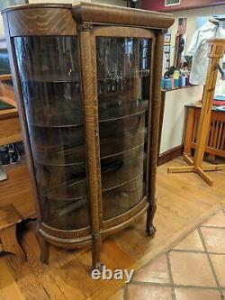 Antique Victorian BEAUTIFUL Tiger Oak China Cabinet Curio with Claw Feet