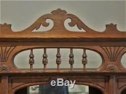 Antique Victorian Ball Stick Tiger Oak Counter Mantel Backbar Wall Mirror Shelf