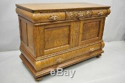 Antique Victorian Carved Tiger Oak Lion Head Sideboard Hutch Buffet Server