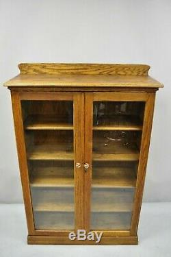 Antique Victorian Golden Tiger Oak Glass 2 Door Bookcase China Cabinet Display
