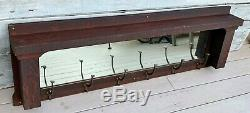 Antique Victorian Mission Tiger Oak 54 Mirror with 6 Double Coat Rack Hooks 1915