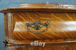 Antique Victorian Quartersawn Tiger Oak Carved Server Sideboard Buffet Cabinet