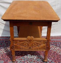 Antique Victorian Solid Tiger Oak Carved Pastry Table Great Crisp Carvings