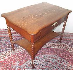 Antique Victorian Solid Tiger Oak Desk Table With Barley Twist Legs