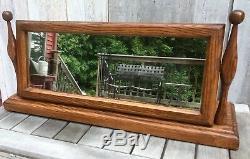 Antique Victorian Tiger Oak 29W Adjustable Tilt Dresser Vanity Mirror c. 1910