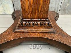 Antique Victorian Tiger Oak 37 Tall Pedestal Plant Stand with Scroll Feet c. 1880