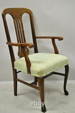 Antique Victorian Tiger Oak Carved Paw Foot Slat Back Dining Chairs Set of 6