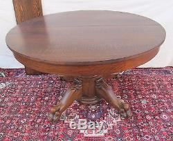 Antique Victorian Tiger Oak Dining Table With Lion Paw Base By Larkin Clean