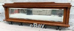 Antique Victorian Tiger Oak Large 53.5 Mirror with 5 Double Coat Rack Hooks 1880