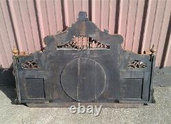 Antique Victorian Tiger Oak Mirror Back Bar with Shelves Ball and Stick 1870s Era