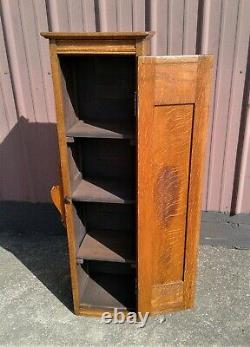 Antique Victorian Tiger Quarter Sawn Oak Barbers Cabinet 1890s Era