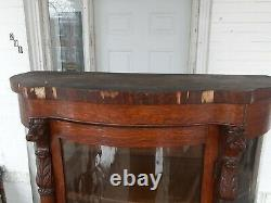 Antique Victorian tiger Oak China Cabinet Curio with Lion Heads and claw Feet