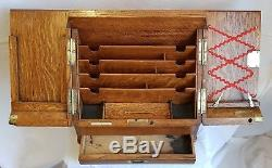 Antique Victorian tiger oak stationery writing box compendium Parkins & Gotto