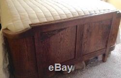 Antique/Vintage Arts & Crafts Mission Full Size Bed Carved Tiger Oak