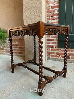Antique Vintage English Carved Tiger Oak BARLEY TWIST Lamp Side Sofa TABLE