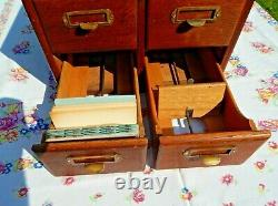 Antique Vintage Library 4 Drawer Card Catalogue File Cabinet Oak Wood