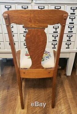 Antique Vintage T Back Tiger Oak Wood Desk Side Dining Accent Chair Free Ship