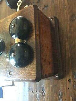 Antique Vintage Tiger Oak Case Kellogg Hand Crank Wall Telephone
