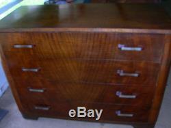 Antique Vintage Tiger Oak English Dresser Flame Design Original Hardware Handles
