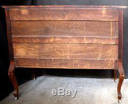 Antique Vintage Tiger Oak Wood Wooden Serpentine Front Dresser Chest 4 Drawers