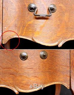 Antique Vintage Tiger Oak Wood Wooden Serpentine Front Dresser Chest 4 Drawers