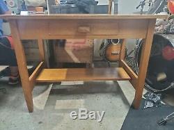 Antique Vtg Tiger Oak Art Deco Mission Arts and Craft Library Desk Table