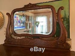 Antique Vtg Tiger Oak Highboy Dresser Carved Mirror lingerie Chest of drawers
