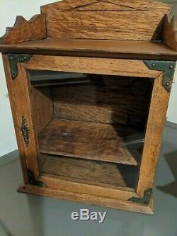Antique Wall Cabinet Cupboard Hanging Tiger Oak Wood Bathroom Cabinet