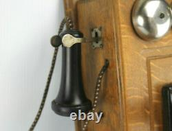 Antique Western Electric Tiger Oak Wall Mount Hand Crank Telephone Decor Only