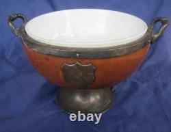 Antique Wood Trophy Bowl Tiger Oak Pedestal Siliverplate Ceramic insert Handles