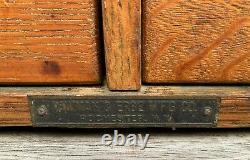 Antique Yawman & Erbe Tiger Oak 4-Drawer File Cabinet Card Catalog USA c. 1900