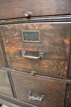 Antique Yawman and Erbe Tiger Oak 8 Drawer Filing Cabinet 1890-1905 Funtional