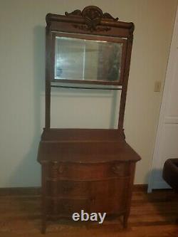 Antique and vintage Tiger Oak Vanity and Mirror